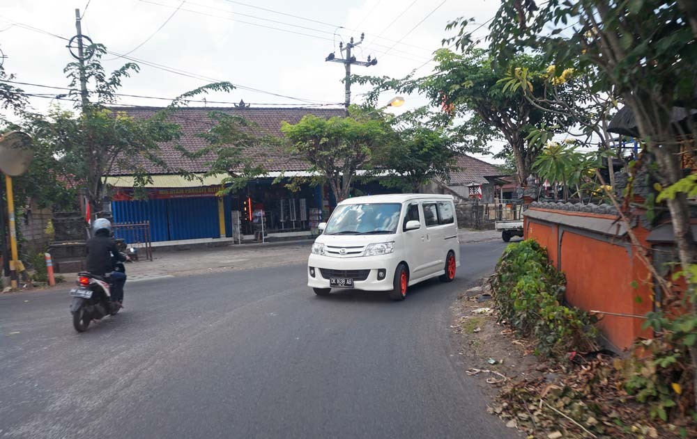 Our ride in Bali in kids friendly van
