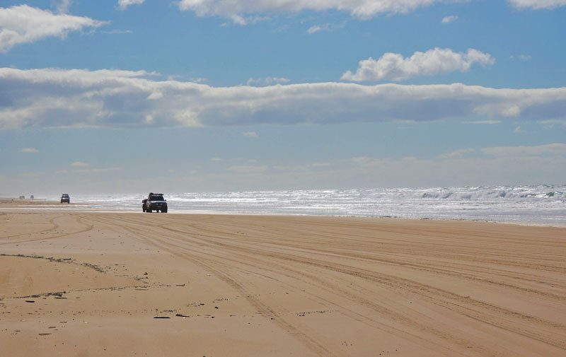 Kitted out 4WD convoys along Seventy-Five Mile Beach