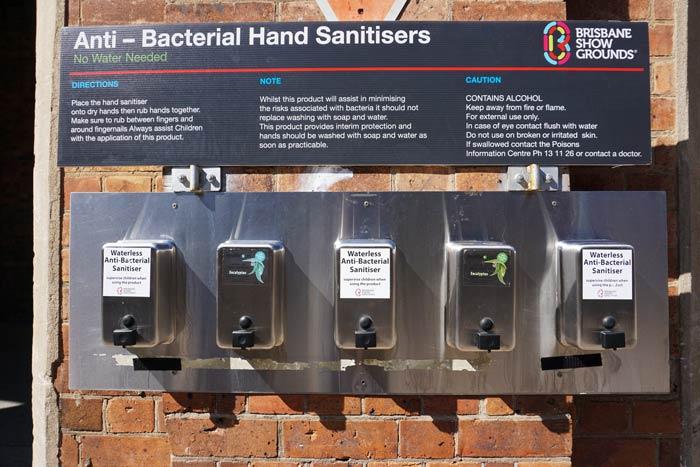 Wash those hands, hand sanitiser stations at the Ekka in Eucalyptus!