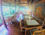 Balcony dining overlooking the green jungle. Murni's Warung, Bali.