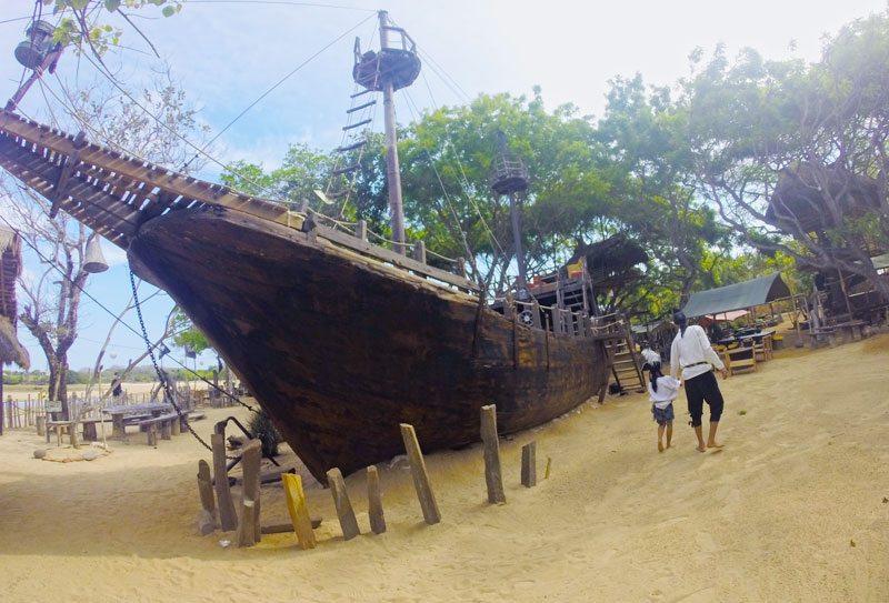 The replica pirate ships ready for kids to set sail. Bali Pirates Bay.