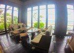 Floor to ceiling windows inside. Sundara four Seasons Bali.