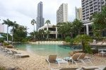 The sandy beach and Surfers Paradise Resort and Spa lagoon