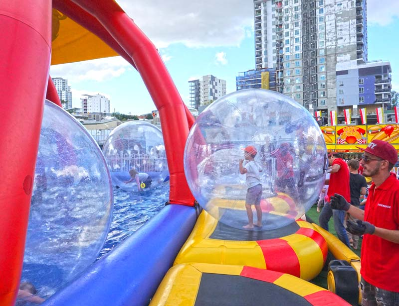 Ekka with kids: Sideshow Alley Water Ball Zorb ride