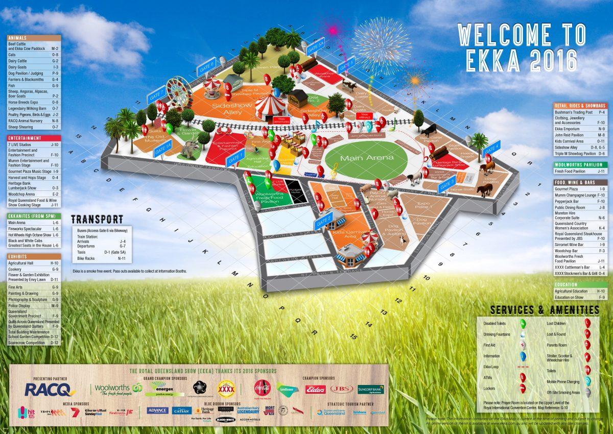 Ekka 2016 Map: Plan before you goto the Ekka with kids. Image: RNA.