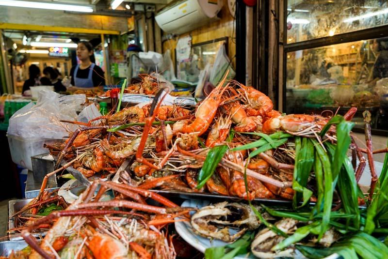 Pile of prawns at Chatuchak Market