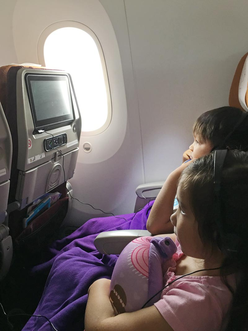 International Flight with kids - seat back entertainment.